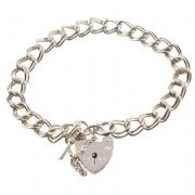 Chunky Double Link Sterling Silver Charm Bracelets With Heart Lock Fastening - Seven Inch - 17.75cm